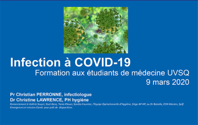 Infection à COVID-19 - Formation aux étudiants de médecine UVSQ 9 mars 2020